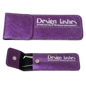 Чехол на два пинцета с кнопкой Design Lashes