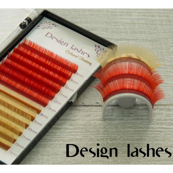 Цветные ресницы (red + gold) Design Lashes
