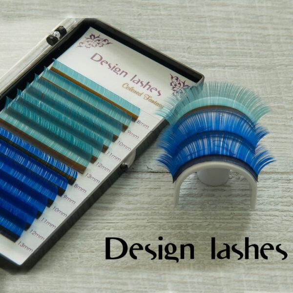 Цветные ресницы (Lblue + blue) Design Lashes